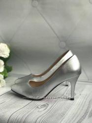 Женские туфли серебро, серебристые