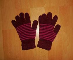 Красивые тёплые перчатки на 4-6 лет