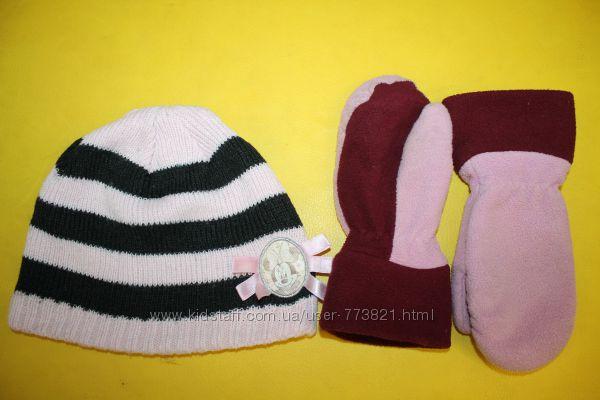 Шапка Минни Disney демисезонная 2-4года рукавицы в подарок
