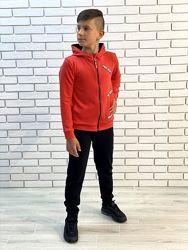 Подростковый спортивный костюм из турецкой двухнитки 122-152 Красный