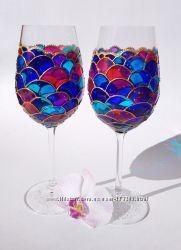 Авторские свадебные бокалы с росписью