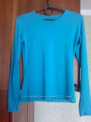 Хлопк. футболки с длиным рукавом-регланы со стразами-бирюзовая, салатная
