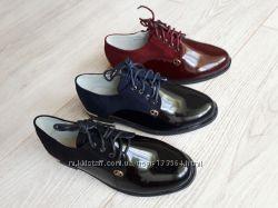 АкцияСтильные осенние закрытые туфли оксфорды 32-37р-3 модели