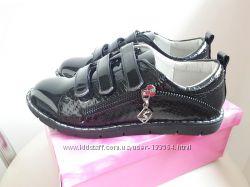 Школа закрытые практичные осенние туфли на липучках 30-37р два цвета