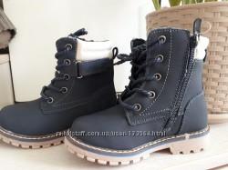 Утепленные деми ботинки натуральный нубук 26-31р