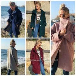 Тёплое пальто женское демисезонное букле барашек свободного кроя 5 цветов