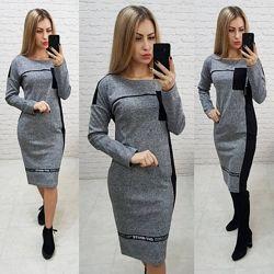 Модное женское платье миди трикотажное по фигуре С М