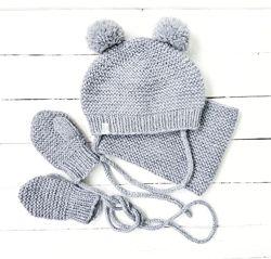 Детский комплект шапка, снуд, варежки ручной работы