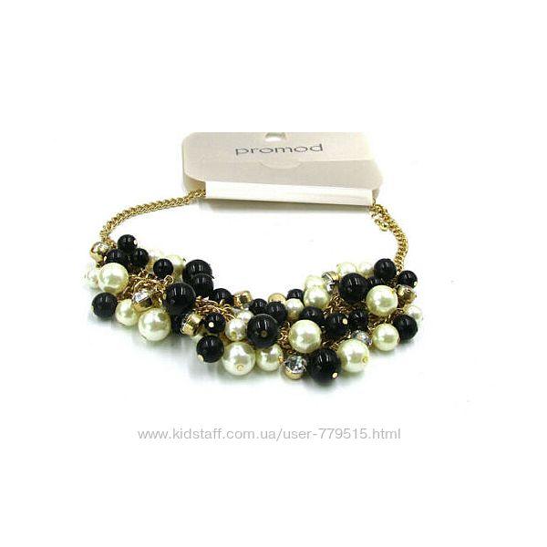Шикарное ожерелье, колье черно-белое с золотом.