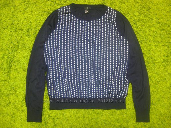 Комбинированный джемпер свитер H&M S-M р.