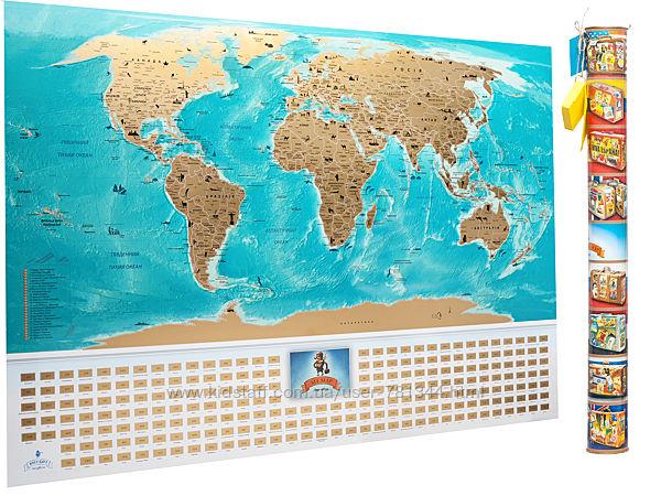 Скретч карта мира на украинском языке FLAGS Map UA/RU/EN