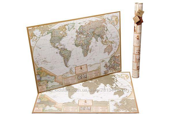 Скретч карта мира 3 в 1 AntiqueMap EN travelmap, карта туриста