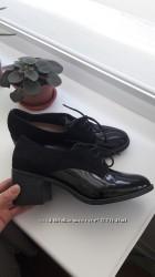 туфли TU из комбинации лакированого переда и экозамши