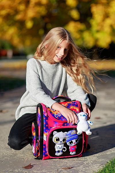 Ранец школьный ортопедический каркасный для девочки Котята DeLune 3 серия