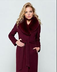 Женское зимнее пальто кашемировое  бордо