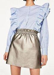 Блестящая кожаная юбка Zara юбка из кожзама на резинке