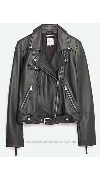 Кожаная куртка косуха Zara натуральная кожа в идеале