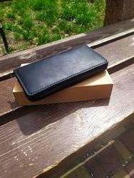 Кожаный кошелёк-клатч