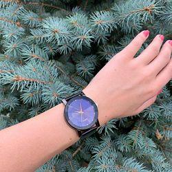 Женские наручные часы с интересным циферблатом черные бежевые синие