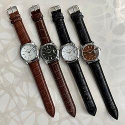 Мужские часы kingnuos чёрные коричневые искусственная кожа с датой