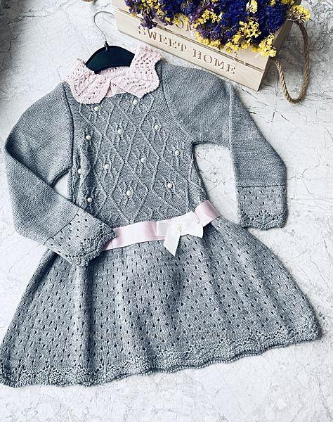 Платье туника на девочку вязка теплое