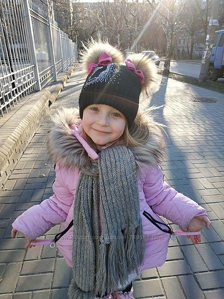 Теплая зимняя шапка помпоны натуральный енот