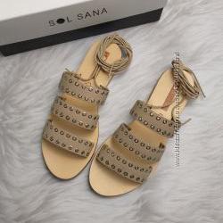 Sol sana оригинал бежевые кожаные сандалии на шнуровке с люверсами бренд из