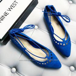 Nine west р36 оригинал синие замшевые туфли лодочки балетки на завязках
