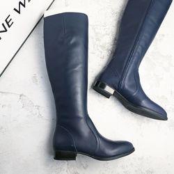 Nine west оригинал темно-синие кожаные сапоги р36