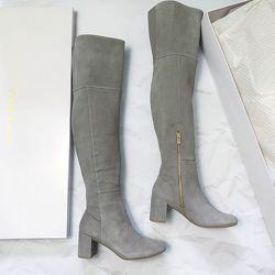Taryn rose оригинал серо-бежевые высокие сапоги ботфорты на удобном каблуке