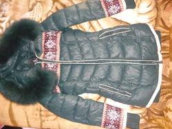 модный зимний пуховик 42р ХС-С мех песец 42р 152-158р