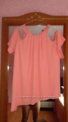 шикарная блуза с воланом рюшей 44р