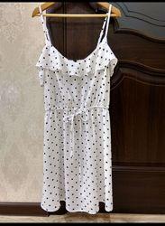 Летнее белое платье сарафан в горошек HM р 34 16080А смотрите замеры