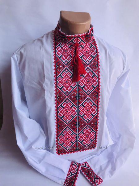 Мужская вышиванка белая длинный рукав чоловіча вишиванка