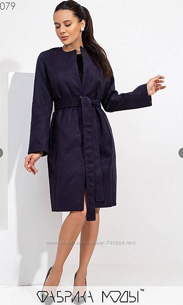 Кашемировое пальто на подкладе прямого кроя без воротника