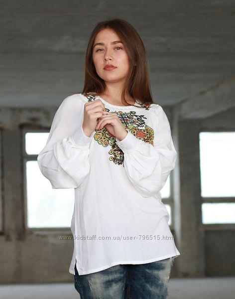Женская блузка поплин 44 размер. Белого цвета.