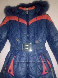 Зимнее пальто натуральный мех на рост 146-155 см