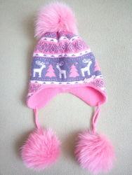 Новая зимняя шапка, очень теплая, натуральные помпоны.