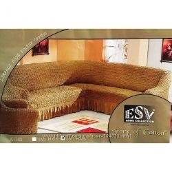 Чехол на угловой диван универсальный 2 кресла