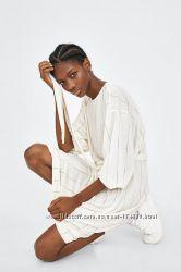 Платье с поясом в полоску от ZARA