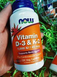 Витамины D3 и K2 Now Foods 120 капсул