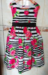 Нарядное платье Cherokee на 4 - 6 года , яркие цветы.