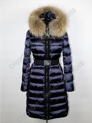 Женское пуховое пальто пуховик Moncler Италия синий