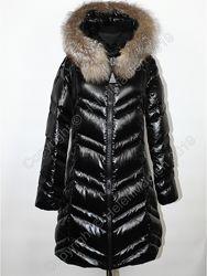 Пуховик пальто парка куртка Moncler черный с натуральным мехом