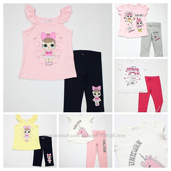 Летние костюмы Breeze Girls комплекты для девочки туника и леггинсы