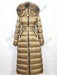 Пуховик пальто парка куртка Moncler с натуральным мехом длинный