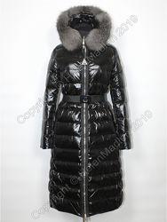 Пуховик Moncler черный парка куртка с натуральным мехом Монклер