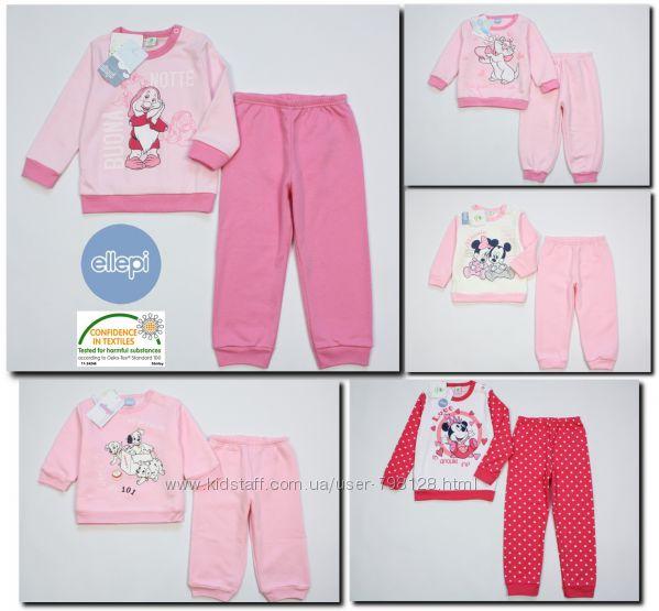 Пижама теплая хлопковая детская Ellepi Disney Baby для девочки Италия