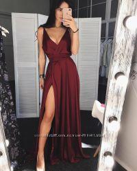 Шикарное Вечернее Платье Длинное с разрезом Марсал Бордовый