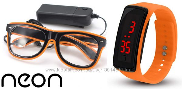 Очки neon прозрачные el neon orange  часы
